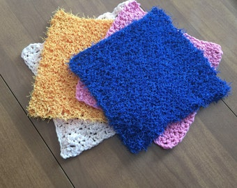 Crochet Cotton Dishcloth, and Nylon Scrubby Set , Cotton Dishrag