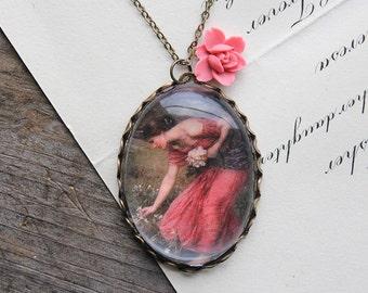 Flora Necklace. John William Waterhouse. (magnifying pendant art book illustration jewelry antique romantic jewellery)