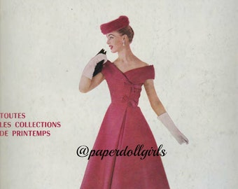 Vintage Fashion Magazine Original Front Cover L Officiel April 1956 Magazine Ad Lanvin Castillo Le Galion Parfum Paris Haute Couture