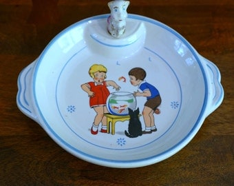 French vintage Childrens Plate Childrens Warming Dish 1950s Food Photography Prop