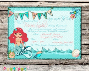 Little Mermaid Party Invitation - Printable - Digital File - INSTANT DOWNLOAD