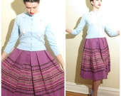 Vintage 1950s Purple Wool Skirt Alex Colman / 50s Pleated Peasant Skirt Woven Wool / Extra Small
