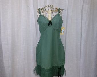 Tutu Dress 32/34 Small Forest Grass Green Glam Garb Handmade USA Romantic Tulle Elegant Victorian Slip Vintage Hand Dyed Rockabilly Boho