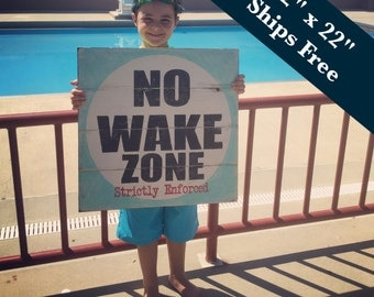 No Wake Zone Sign - Rustic Beach House Decor -Pallet Poolside Sign -Lake House Art - Rustic Home Decor - Nautical Nursery Decor