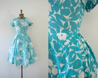 1960s Seaside Foliage floral teal day dress / 60s fit n' flare