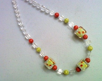 Green, Siam Red and Crystal Necklace (0160)
