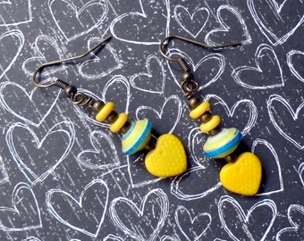 Yellow, Blue and Green Heart Earrings (2472)