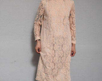60s lace shift wiggle straight 1960s vintage mid century classy sheer romantic ascot tie peach coral feminine dress small S medium M mod
