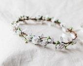 white delicate flower crown // bridal wedding flower crown headband rustic forest garden spring woodland headpiece