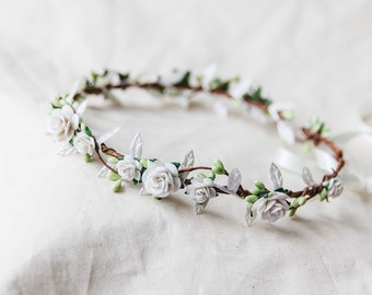 white delicate flower crown // bridal wedding flower crown headband rustic forest garden spring woodland headpiece