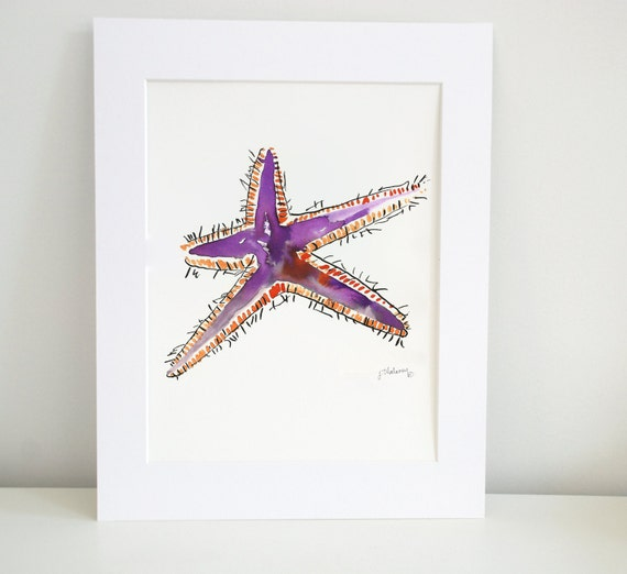 Purple Starfish Watercolor