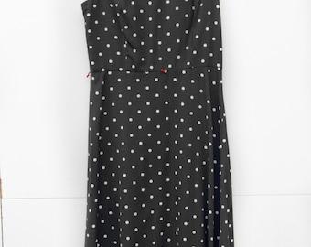 Dottie, French Vintage, 1970s Black Polka Dot Stripe Midi Dress, from Paris