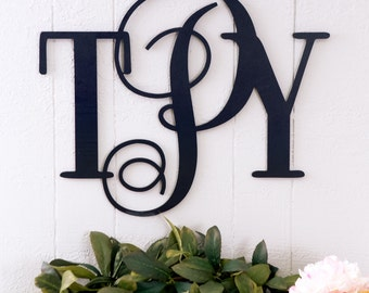 """Monogram for Wall 16"""" Tall Wall Decor for Home or Wedding, Script Lettering Sign, Outdoor Home Monogram Sign (Item - SMN300)"""
