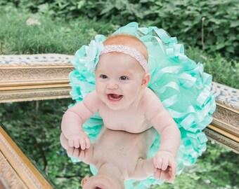 Baby Girls 1st Birthday Tutu, Tulle Skirt, Photo Prop, Little Girls Mint Tutu and Flower Headband, Baby Tutu, Toddler Tutu, Ribbon Tutu