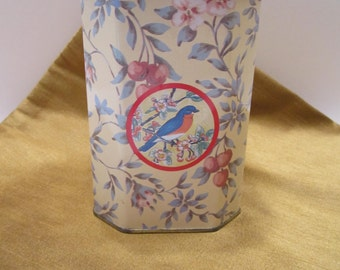 Meister Decorative Tin - Birds and Cherry Blossoms Design - Made in Brazil