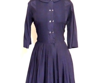 vintage navy day dress - 1940s-50s pleated blue cotton full-skirt dress