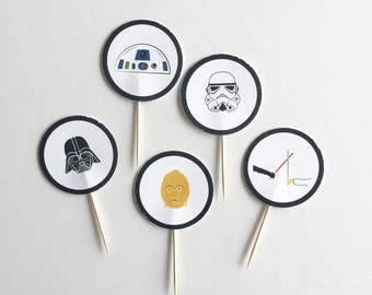 Star Wars Cupcake Toppers - set of 20, lightsabers, R2D2, C3P0, Darth Vader, Storm Trooper, arrives assembled