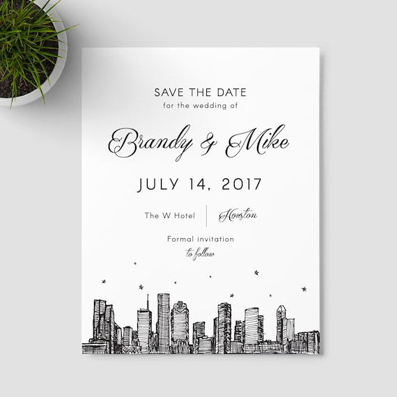 Houston skyline save the date SAMPLE ONLY; Houston, Texas