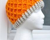 Crochet Lattice Hat - Orange with Linen