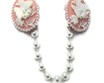 Butterfly Cameo Sweater Clip, Pink and White with Pearls, Retro, Rockabilly, Pinup, Floral Sweater Guard, Cardigan clip