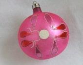 Vintage glass ornament ball ornament Christmas ornament pink ornament hand painted ornament Poland ornament