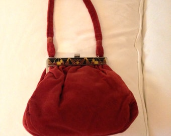 60's Russet Brown Tapestry Velour Handbag with Deco Design Trim