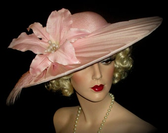 PINK LILY PASSION Wide Brim Downton Derby Hat, Wide Brim Pink Chiffon, Pale Pink Wedding Hat, Tea Party Hat, Sylvia Of New York Designer Hat