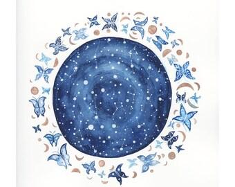 Original painting, Moths & Starlight