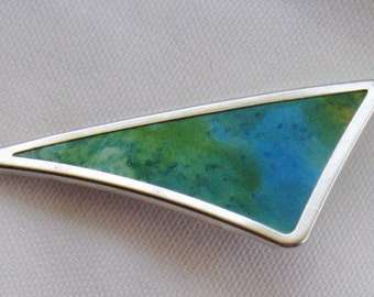 Hand painted silk brooch aqua blue textured design