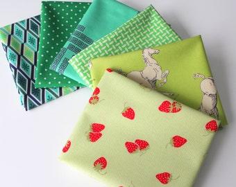 Green Janum curated bundle- 6 fat quarters