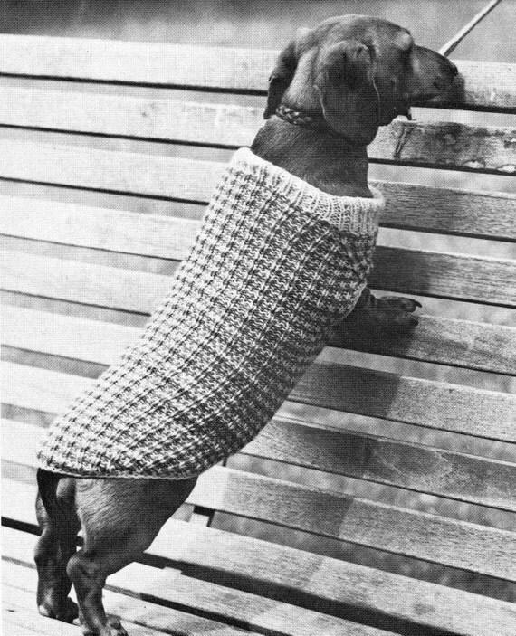 Vintage Dog Coat Knitting Pattern : vintage knitting pattern small dog coat sweater jacket cable