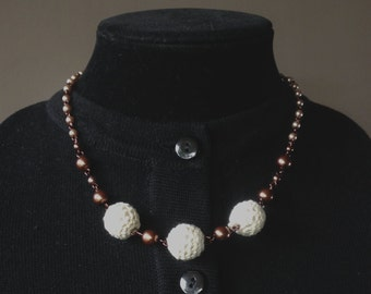 Crochet and Bronze Glass and Faux Pearl Beaded Necklace - Mid Century Modern - Vintage Inspired