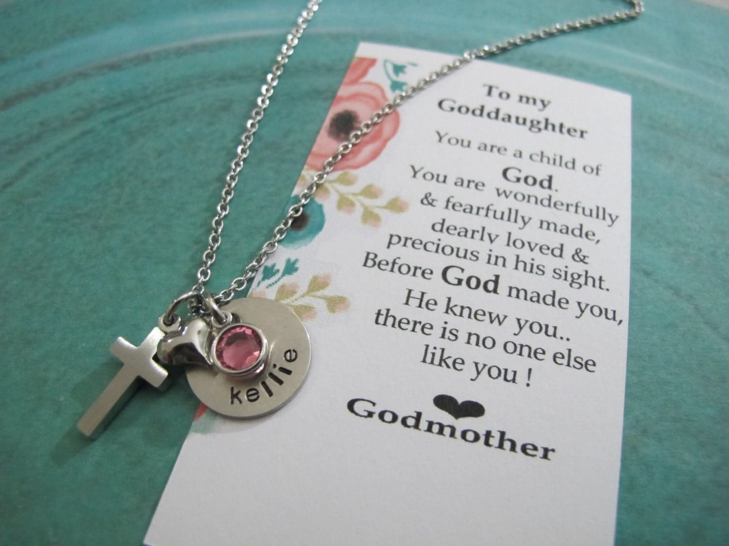 Gift For Goddaughter Birthstone Necklace Sterling By: First Communion Goddaughter Gift-Personalized Name Birthstone