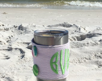 PERSONALIZED Mongrammed BEVERAGE HUGGIE- {Choose your seersucker & thread color!}