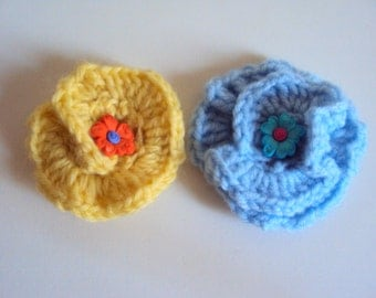 Set of 2 - Handmade Crochet Brooch Flowers Crochet Appliques Gift Decorations Handmade Flowers Embellishment