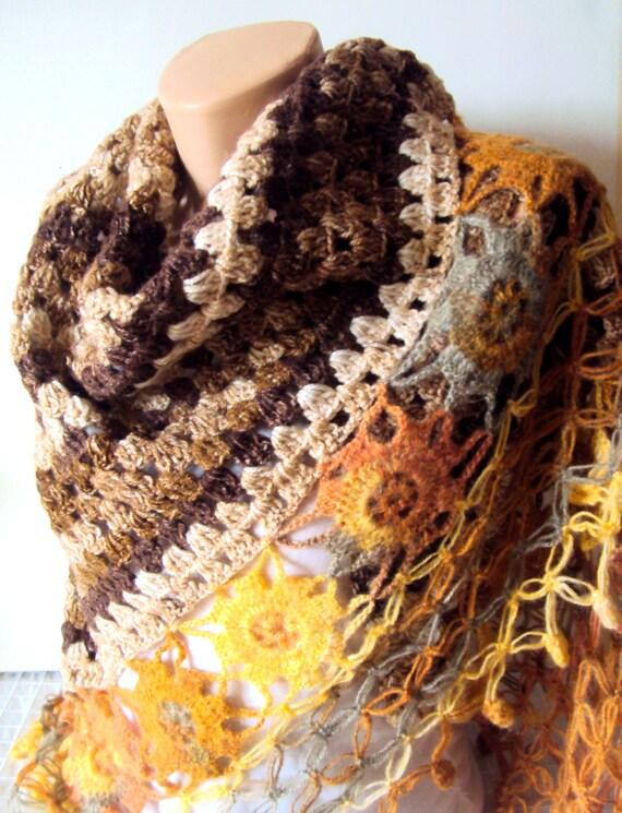 Flower Shawl Granny Shawl Crochet Triangle Scarf Shoulder Wrap Fringed Shawl Festival Shawl Afghan Shawl Fashion Accessories Prayer Shawl