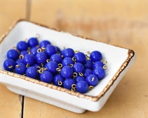 Vintage Japan Miriam Haskell Cobalt Blue Glass Connector Beads with Loops