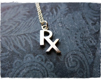 Silver Rx Necklace - Sterling Silver Rx Charm on a Delicate Sterling Silver Cable Chain or Charm Only
