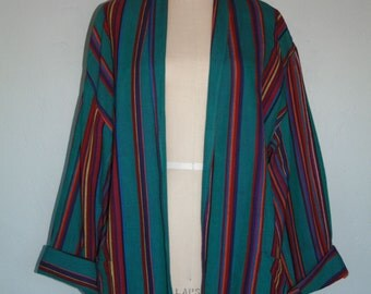 Vintage 90s Southwestern Woven Boho Wrap Jacket