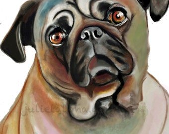Print of a Pug. Print from pastel drawing