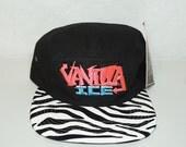 Vanilla Ice Hat New 5 Panel Zebra Tiger Print Vintage Patch NOS