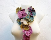 Crochet Lariat Scarf,Flower Scarf,Lariat Scarf,Crochet Necklace,Crochet Flower