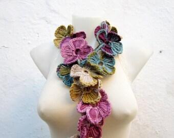 Crochet Scarf,Lariat Scarf,Flower Scarf,Crochet Necklace