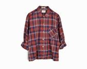 Vintage Rust Plaid Shirt / Men's Plaid Shirt / Made in Japan - men's medium