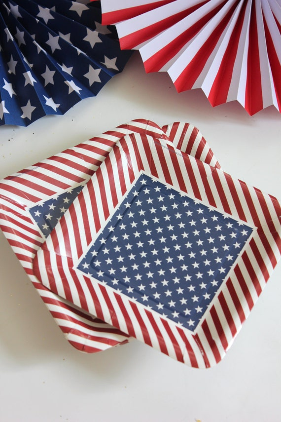 Sale Set 20 RED WHITE \u0026 BLUE Paper Plates 4th Fourth of July Striped Stars Stripes Usa America Birthday Picnic Flag Presidential Square 8\  & Sale Set 20 RED WHITE \u0026 BLUE Paper Plates 4th Fourth of July Striped ...
