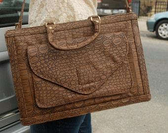 Brown Crocodile Briefcase Laptop Bag Alligator Reptile Vintage Top Handle Shoulder Strap