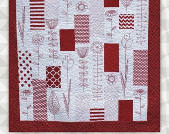 Instant Download: Madeline-  A redwork quilt. Floral. Red embroidery. Lap Quilt. Stitchery. Hand Embroidery.