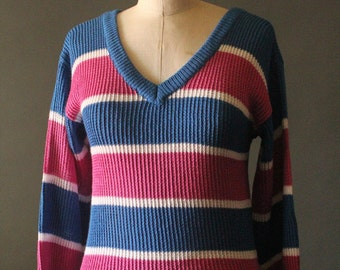 Vintage 80's Blue, White and Pink V-Neck Ribbed Knit Pullover Sweater by West Coast Connection, size M