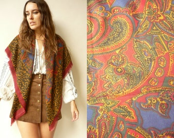 Vintage 1970's Leopard Print & Paisley Printed Woven Scarf