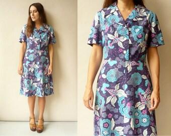 1960's Vintage Psychedelic Floral Print Midi Cotton Tea Dress Size Medium